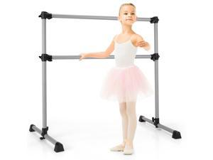 Goplus 4FT Portable Double Freestanding Ballet Barre Dancing Stretching Silver