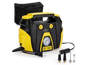 Portable Air Compressor Tire Inflator AC/DC Electric Pump w/ 3 Nozzle Adaptors
