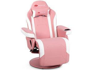 Massage Gaming Recliner Reclining Racing Chair Swivel w/Cup Holder & Pillow Pink