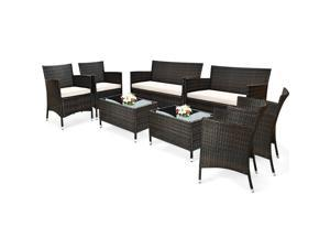 8PCS Rattan Patio Furniture Set Cushioned Sofa Chair Coffee Table Garden