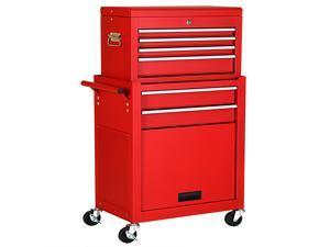 2 in 1 Rolling Cabinet Storage Chest Box Garage Toolbox Organizer w/ 6 Drawers