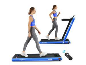 2.25HP 2 in 1 Folding Treadmill W/Bluetooth Speaker Remote Control Home Gym Blue
