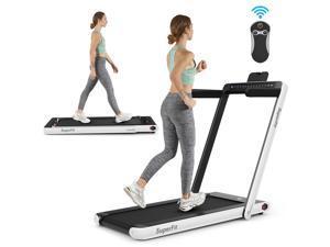 2.25HP 2 in 1 Folding Jogging Treadmill Machine Dual Display W/Speaker Bluetooth White