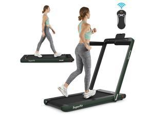2.25HP 2 in 1 Folding Jogging Machine Treadmill Dual Display W/Speaker Bluetooth Green