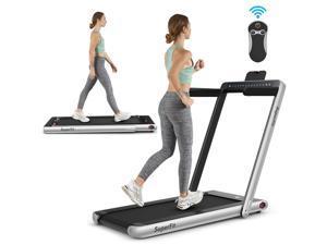 2.25HP 2 in 1 Dual Display Folding Treadmill Jogging Machine W/Bluetooth Speaker