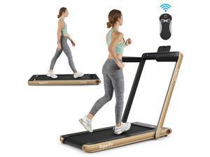 2.25HP 2 in 1 Folding Treadmill Jogging Machine Dual Display W/Speaker Bluetooth Gold