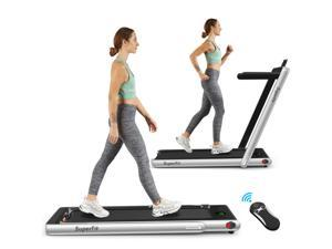 2.25HP 2 in 1 Folding Treadmill W/Bluetooth Speaker Remote Control Home Gym Silver