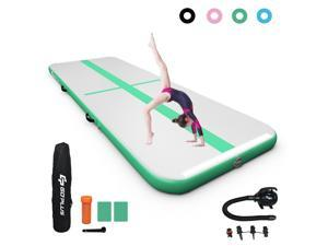 15FT Air Track Inflatable Gymnastics Tumbling Mat w/ Pump Indoor Outdoor Green
