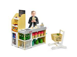 Grocery Store Playset Pretend Play Supermarket Shopping Set with Shopping Cart
