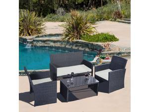 7a6f84b6a8a 4 PC Rattan Patio Furniture Set Garden Lawn ...