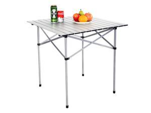 """28""""x28"""" Roll Up Portable Folding Camping Square Aluminum Picnic Table w/Bag"""