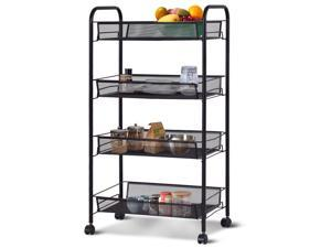 4 Tier Mesh Rolling File Utility Cart Home Office Kitchen Storage Basket Black