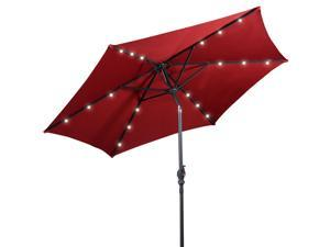 9FT Patio Solar Umbrella LED Patio Market Steel Tilt W/ Crank Outdoor Burgundy