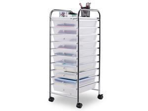 Clear 10 Drawer Rolling Storage Cart Scrapbook Paper Office School Organizer