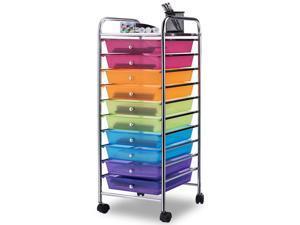10 Drawer Rolling Storage Cart Scrapbook Paper Office School Organizer Rainbow