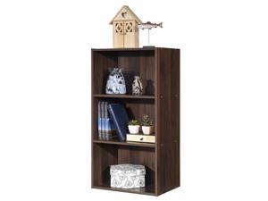 3 Open Shelf Bookcase Modern Multi-functional Storage Display Cabinet Walnut