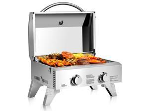 GoPlus Corp 2 Burner Portable Stainless Steel BBQ Table Top Propane Gas Grill Outdoor Camp