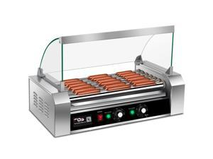 Commercial 18 Hot Dog Grill Cooker Machine Stainless steel 7 Roller W/ cover