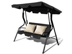 3 Seats Patio Canopy Swing Glider Hammock Cushioned Steel Frame Backyar Black/Green/Coffee