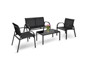 4 PCS Patio Furniture Set Sofa Coffee Table Steel Frame Garden Deck Gray