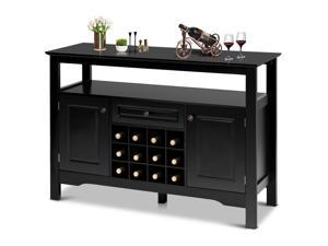Storage Buffet Sever Cabinet Sideboard Table Wood Wine Rack Kitchen Dining Black