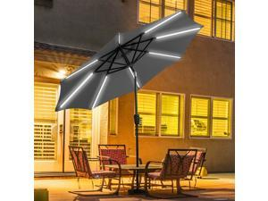 9 FT Patio Solar Umbrella LED Tilt Deck Waterproof Garden Market Beach Gray