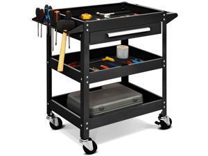 Three Tray Rolling Tool Cart Mechanic Cabinet Storage ToolBox Organizer w/Drawer