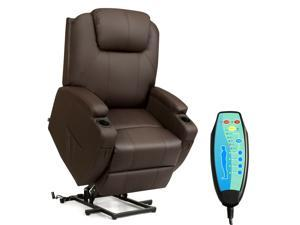 Electric Lift Power Chair Recliner Heated Vibration Massage Sofa w/Remote Coffee
