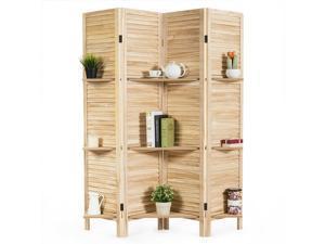 4 Panel Folding Room Divider Screen W/3 Display Shelves 5.6 Ft Tall White
