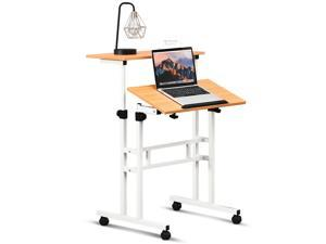 Mobile Standing Desk Height Adjustable Sit Stand Workstation Stand Up Desk 2in1