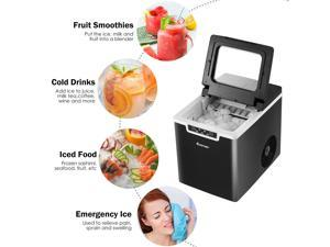 Ice Maker Machine Countertop 26Lbs/24H Portable W/Scoop & Basket Black