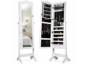 Jewelry Mirrored Cabinet Armoire Storage Organizer w/Drawer & Led Lights White