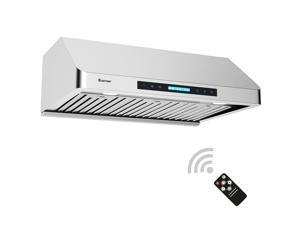 30''Under-Cabinet Kitchen Range Hood Stainless Steel Wireless 4-Speed LED Lights
