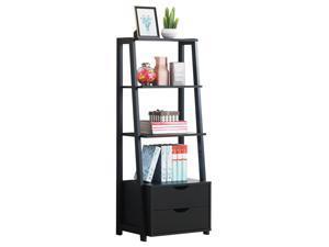 4-Tier Ladder Shelf Bookshelf Bookcase Storage Display Leaning With 2 Drawers