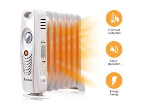 700 W Portable Mini Electric Oil Filled Radiator Heater 7-Fin Thermostat Home
