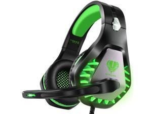 ENVEL Noise Cancelling Gaming Headset with 7.1 Surround Sound Stereo for PS4/Nintendo eShop Switch,Omnidirectional Microphone Vibration LED Light Compatible with Mac/PC/Laptop/Mac/PS3 Camo (Green)