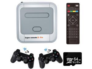 Super Console X PRO Game Consoles with 64GB Built-in 33,000+ Games,4K TV HDMI Output Classic Video Game Console for Adults,Support PSP/PS1/DC,2 Controllers,Best Gifts for Kids (XPRO-64GB)