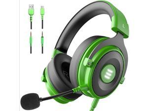 EKSA E900 USB Gaming Headset - Xbox One Headset with 7.1 Surround Sound, PS4 Headset Noise Cancelling Mic, Gaming Headphones Compatible with PC, PS4, Xbox One Controller, Nintendo Switch(Green)