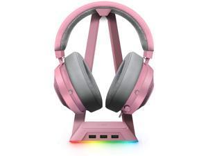 Razer Kraken Gaming Headset + RGB Headset Stand Bundle: Quartz Pink