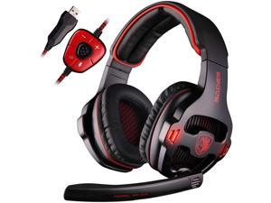 SADES USB 7.1 Stereo Surround Sound Gaming Headset with Mic LED Light Noise Cancelling Gamer Headphones with Volume-Control for PC Mac Computer Games (Red)