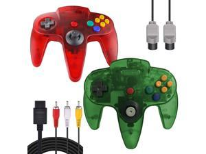 ZeroStory Classic N64 Controller, Wired N64 Controller Joystick with 5.9 Ft N64 AV Cable for N64 Video Game Console (Transparent Red and Jungle Green)