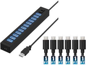 Sabrent 13 Port High Speed USB 2.0 Hub + [6-Pack] 22AWG Premium 1ft Micro USB Cables High Speed USB 2.0