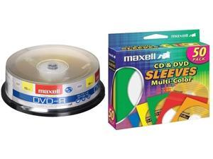 Maxell 638006 DVD-R 4.7 Gb Spindle with 2 Hour Recording Time & Maxell 190134 CD & DVD Paper Storage Envelope Sleeves with Clear Plastic Windows Multi-Color 50 Pack (Paper)