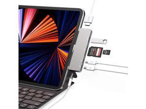 iPad Pro USB C Hub, 7-in-1 Adapter for iPad Pro 2021 2020 2018 12.9/11 inch, iPad Air 4 Docking Station with 4K HDMI, USB-C PD Charging, SD/Micro Card Reader, USB 3.0, 3.5mm Headphone Jack,USB C Data
