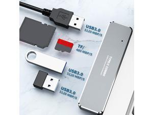 PLENTOP 5 in 1 USB C to HDMI 4K Adapter with HDMI 3 USB 3.0 Ports, SD/Micro SD Card Reader Compatible for Computer (Silver)