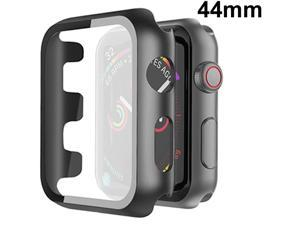 Defense Case with Integrated Tempered Glass Screen Protector for Apple Watch 44mm Series SE / 6 / 5 / 4 - Black