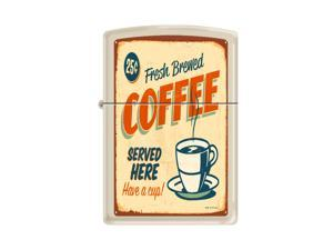 Zippo Coffee Served Cream Matte Windproof Pocket Lighter