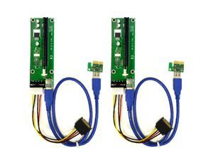 2-Pack PCIe 4-Pin MOLEX PCI-E 16x to 1x Powered Riser Adapter Card w/ 60cm USB 3.0 Extension Cable & MOLEX to SATA Power Cable - GPU Riser Adapter - Ethereum Mining ETH