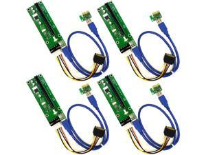 4-Pack PCIe 4-Pin MOLEX PCI-E 16x to 1x Powered Riser Adapter Card w/ 60cm USB 3.0 Extension Cable & MOLEX to SATA Power Cable - GPU Riser Adapter - Ethereum Mining ETH