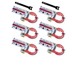 6-Pack MintCell VER 008S Multi-Power 16x to 1x Powered Riser Adapter Card 60cm USB 3.0 Extension Cable - GPU Riser Adapter - Mining Ethereum ETH Zcash ZEC Monero XMR + 2 MintCell Cable Ties